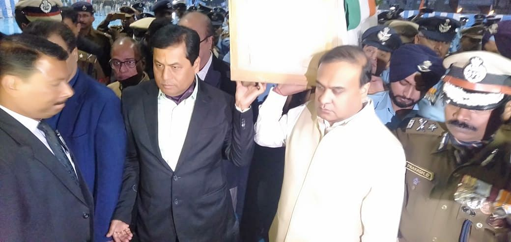 CM Sarbananda Sonowal and Dr Himanta Biswa Sarma, and other officials are at the Air Force Station to pay their tribute.