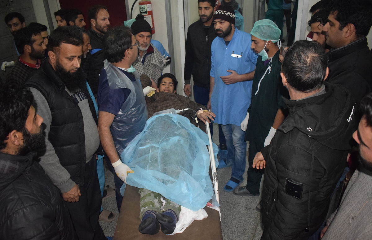 Injured students at SHMS Hospital after explosion in Pulwama school.