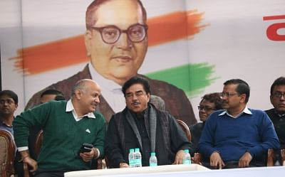 New Delhi: Deputy Chief Minister and AAP leader Manish Sisodia, actor turned politician Shatrughan Sinha, Delhi Chief Minister and AAP leader Arvind Kejriwal and Trinamool Congress supremo Mamata Banerjee during a sit-in protest against the central government at Jantar Mantar, in New Delhi, on Feb 13, 2019. (Photo: IANS)