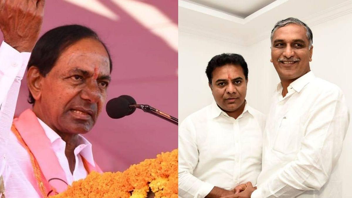 K Chandrashekar Rao (left), K Taraka Rama Rao and KCR's nephew Harish Rao (right)