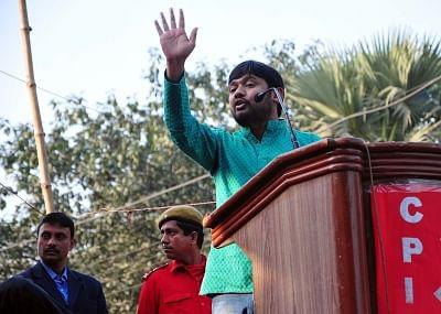 Kolkata: JNU Students Union leader Kanhaiya Kumar addresses during a rally organised to mark the 94th foundation day of the party in Kolkata, on Dec 26, 2018. (Photo: Kuntal Chakrabarty/IANS)
