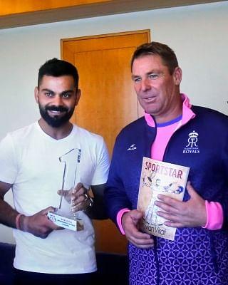 New Delhi: Virat Kohli receives the Sportstar