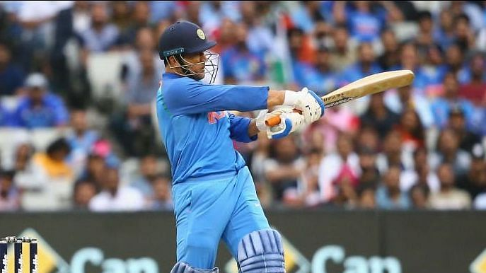 MS Dhoni in action during India's third and final ODI against Australia at Melbourne.