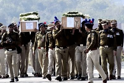 Patna:  The coffins of Ratan Kumar Thakur and Sanjay Kumar Sinha, who were among the 49 CRPF personnel killed in 14 Feb Pulwama militant attack, arrive in Patna on Feb 16, 2019. (Photo: IANS)