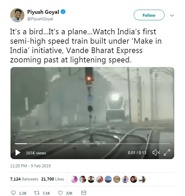Screenshot of Piyush Goyal's tweet.