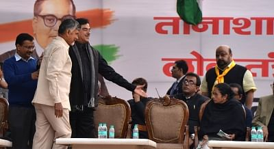 New Delhi: Andhra Pradesh Chief Minister and TDP supremo N. Chandrababu Naidu, West Bengal Chief Minister and Trinamool Congress supremo Mamata Banerjee and actor turned politician Shatrughan Sinha during a sit-in protest against the central government at Jantar Mantar, in New Delhi, on Feb 13, 2019. (Photo: IANS)