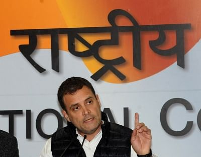 New Delhi: Congress President Rahul Gandhi addresses a press conference regarding alleged scam in Rafale deal in New Delhi on Feb 13, 2019. (Photo: IANS)