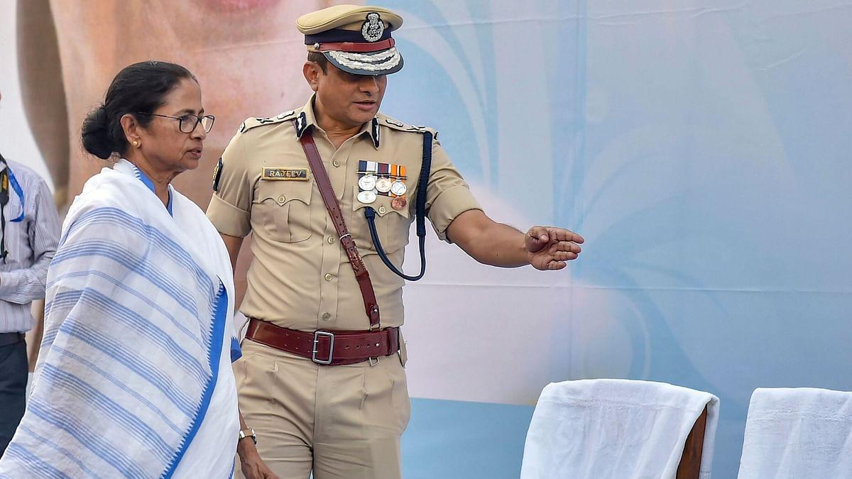 West Bengal Chief Minister Mamata Banerjee with Kolkata Police Commissioner Rajeev Kumar.