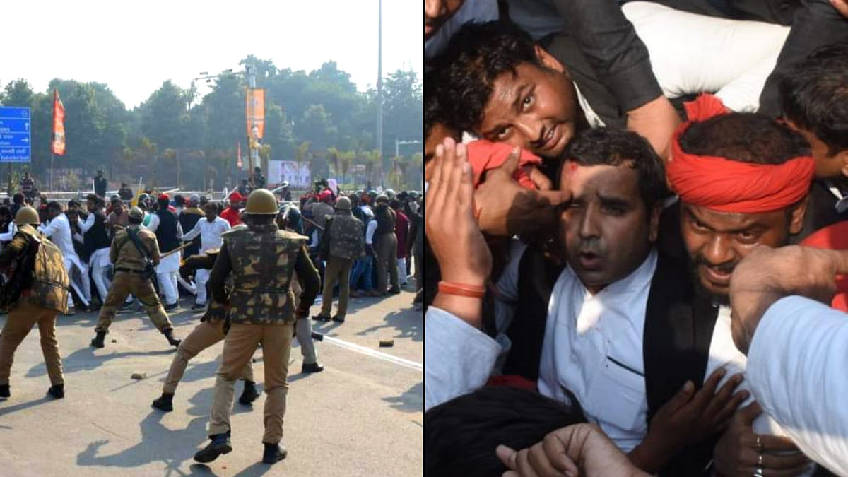 Police lathi-charge at Samajwadi Party workers and MP Dharmendra Yadav (right) in Prayagraj, Uttar Pradesh.