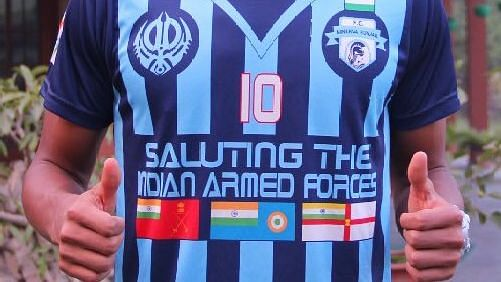 Real Kashmir's team jersey has a line written 'We Salute Indian Army'.