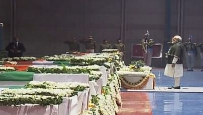 New Delhi: Prime Minister Narendra Modi pays tribute to CRPF personnel who were killed in a suicide attack by militants in Jammu and Kashmir