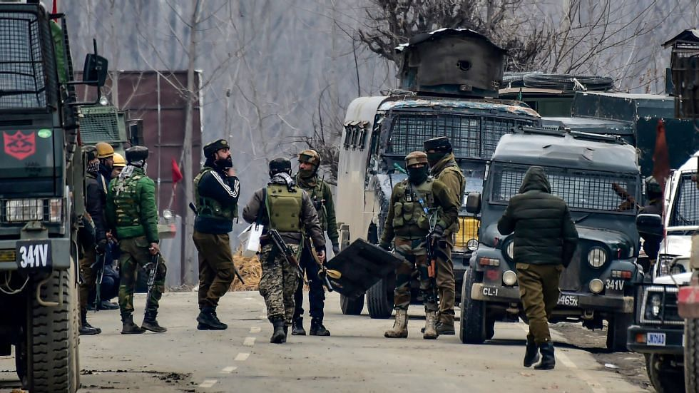 File photo of the security forces in the aftermath of the Pulwama terror attack.