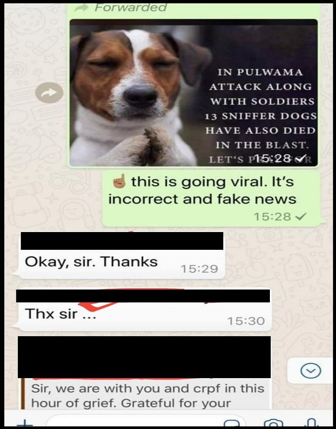 Screenshot of a WhatsApp message showing CRPF informing members about a fake post.