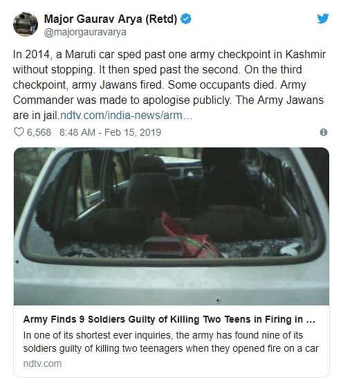 Claim of Army Men Jailed For 2014 Budgam Incident is 'Fake'