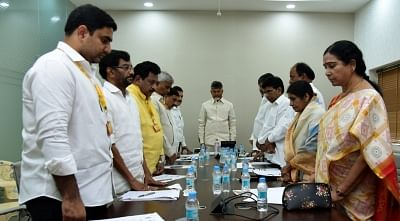 Amaravathi: Andhra Pradesh Chief Minister N. Chandrababu Naidu pays tribute to the martyrs of 14 Feb Pulwama militant attack in Amaravathi on Feb 16, 2019. (Photo: IANS)