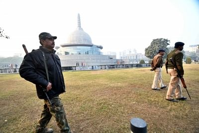 Patna: Security beefed up at Patliputra Karuna Stupa after two crude bombs were recovered near the Mahabodhi temple in Bihar
