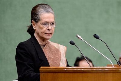 New Delhi: UPA chief Sonia Gandhi addresses at the Parliamentary Party meeting in New Delhi, on Feb 13, 2019. (Photo: IANS/AICC)