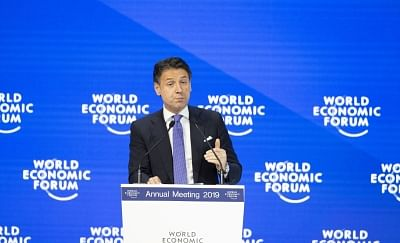 DAVOS (SWITZERLAND), Jan. 23, 2019 (Xinhua) -- Italian Prime Minister Giuseppe Conte speaks during a plenary session at the 49th annual meeting of the World Economic Forum (WEF) in Davos, Switzerland, Jan. 23, 2019. Attended by over 60 heads of state or government, 40 international organization heads and 1,700 business leaders, the four-day WEF meeting kicked off on Tuesday. (Xinhua/Xu Jinquan/IANS)