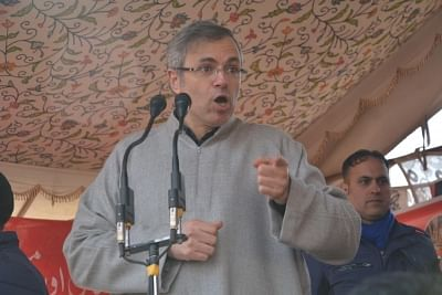 Kulgam: National Conference leader Omar Abdullah address during a party programme in Jammu and Kashmir
