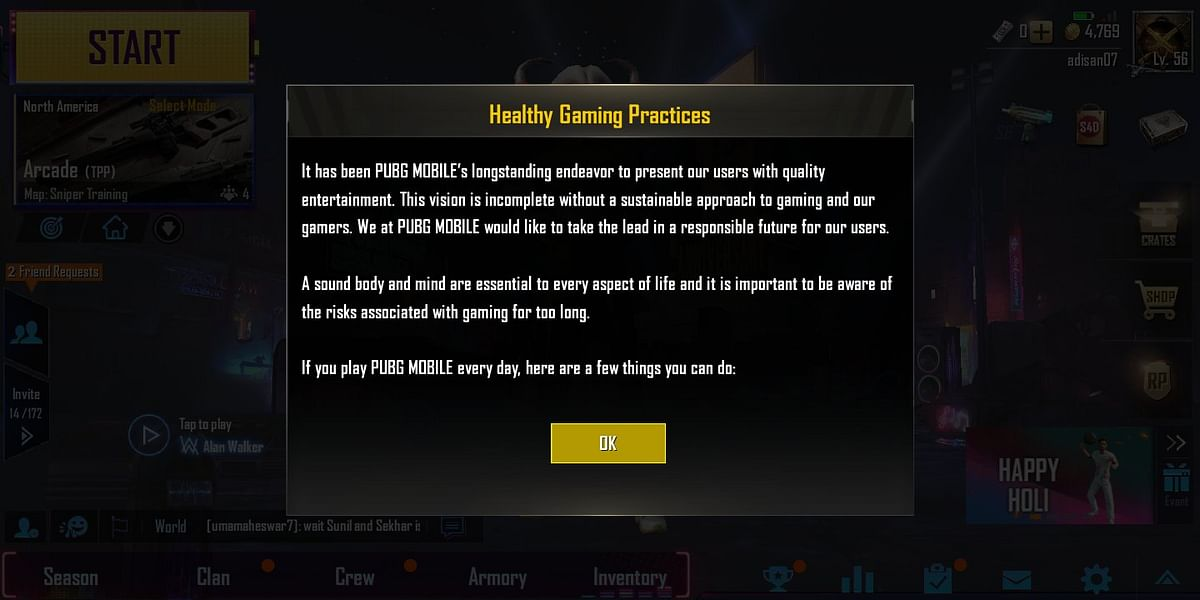 PUBG Mobile taking a sensible route in looking to help avid players.