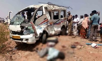Nalgonda: The mangled remains of the van that collided with a bus killing eight people near Devatupalli village in Telangana