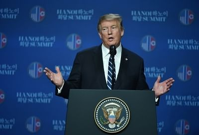 HANOI, Feb. 28, 2019 (Xinhua) -- U.S. President Donald Trump speaks at a press conference in Hanoi, Vietnam, Feb. 28, 2019. A gap remained between what the Democratic People