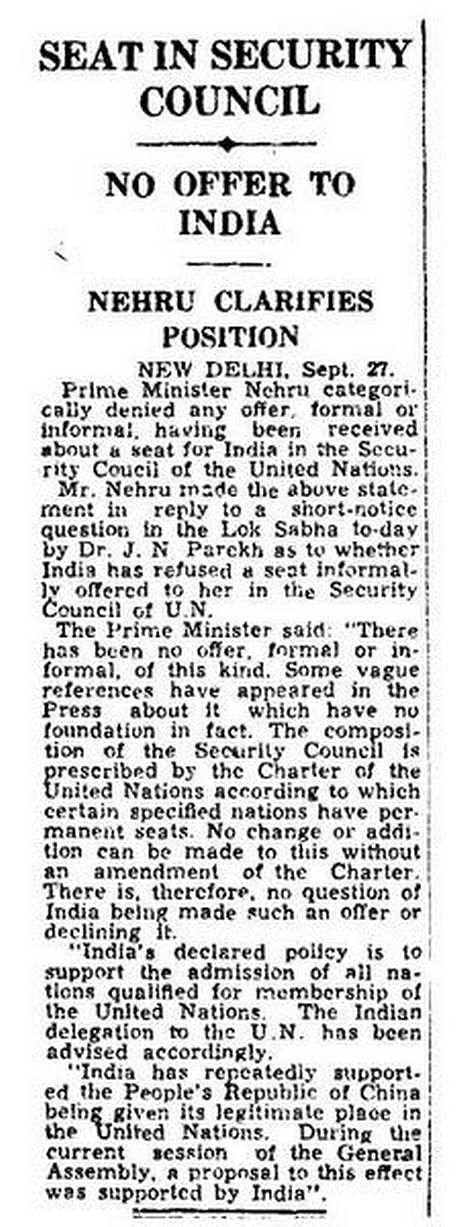 Did Nehru Reject Offers for a Permanent Seat in the UNSC Twice?