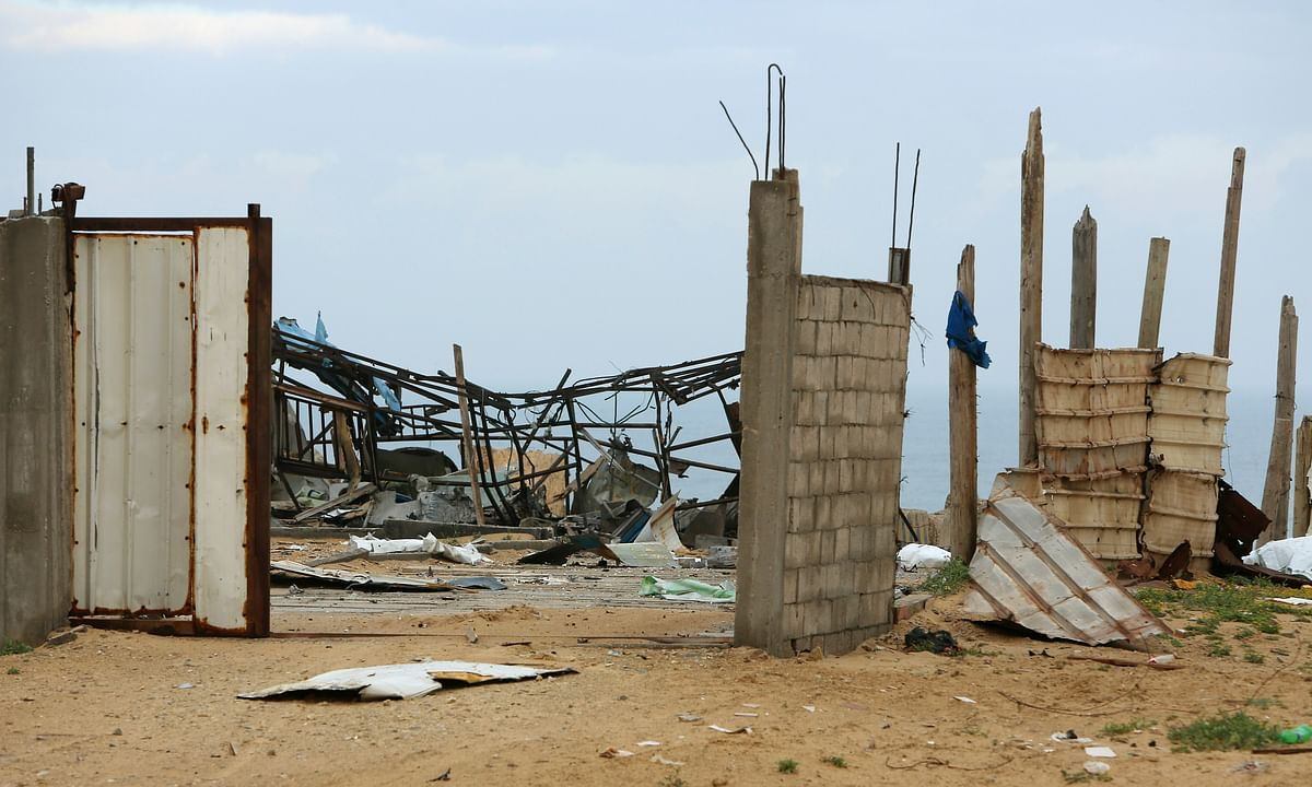 A wreckage of Hamas military site is seen empty after it hit by Israeli airstrikes in Gaza City, early Friday