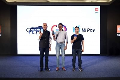 """New Delhi: Xiaomi India MD Manu Kumar Jain, COO Muralikrishnan B and Chief Marketing Officer Anuj Sharma at the launch of Unified Payments Interface (UPI)-based payments application """"Mi Pay"""" in New Delhi, on March 19, 2019. (Photo: IANS)"""