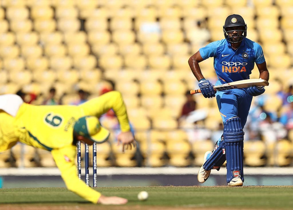 Vijay Shankar stroked a composed 41-ball 46 in the second ODI between India and Australia at Nagpur, before being run-out in unfortunate fashion.