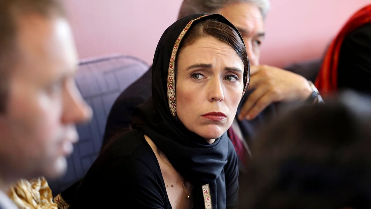 Prime Minister Jacinda Ardern meets representatives of the Muslim community, Saturday, 16 March, at the Canterbury Refugee Centre in Christchurch, New Zealand.