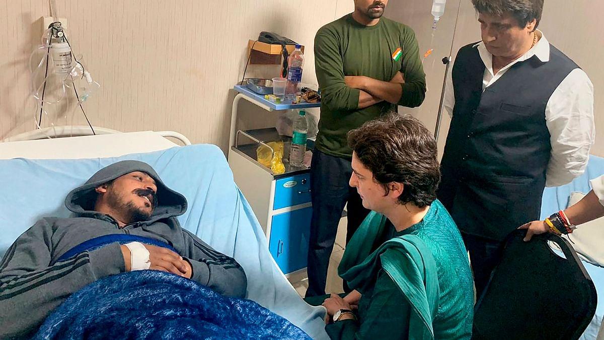 Congress General Secretary Priyanka Gandhi Vadra visits Bhim Army chief Chandrashekhar Azad at a hospital in Meerut on Wednesday.