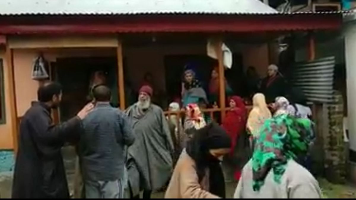 Visuals from outside army jawan's house who was shot dead by suspected militants on Wednesday, 13 March.