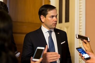 """WASHINGTON, July 14, 2017 (Xinhua) -- U.S. Senator Marco Rubio speaks to journalists as he leaves a meeting on Capitol Hill in Washington D.C. July 13, 2017. Senate Republicans of the U.S. Congress on Thursday unveiled a new healthcare bill that they hoped can fulfill their long-time goal to """"repeal and replace"""" the Affordable Care Act. (Xinhua/Ting Shen/IANS)"""
