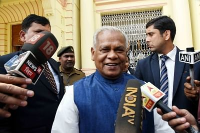 Patna: HAM leader Jitan Ram Manjhi talks to media persons in Patna, on Feb 13, 2019. (Photo: IANS)