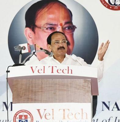 Chennai: Vice President M. Venkaiah Naidu addresses at Vel Tech University in Chennai, on March 13, 2019. (Photo: IANS/PIB)