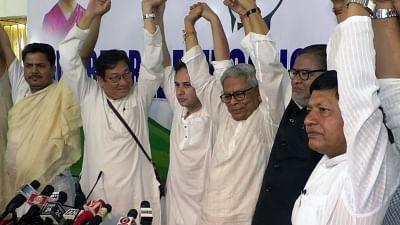 Agartala: Tripura BJP vice-president Subal Bhowmik, party leaders Prakash Das and Debashish Sen join Congress in the presence of state party President Kirit Pradyot Deb Barman in Tripura, Agartala, on March 19, 2019. (Photo: IANS)