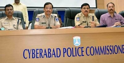 Hyderabad: Cyberabad Commissioner V C Sajjanar addresses a press conference regarding an alleged data theft case on Hyderabad-based IT Grids (India) Pvt. Ltd, in Hyderabad on March 4, 2019. (Photo: IANS)