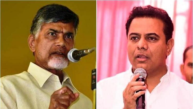 TRS working president KT Rama Rao (R), and Andhra Pradesh Chief Minister Nara Chandrababu Naidu