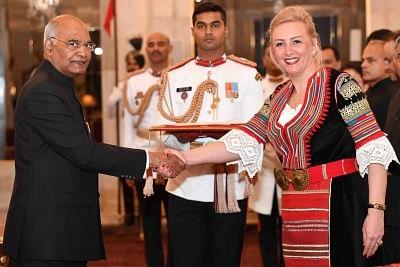 New Delhi: Ambassador-designate of the Republic of Bulgaria, Eleonora Dimitrova presents her credentials to President Ram Nath Kovind at Rashtrapati Bhavan in New Delhi, on March 13, 2019. (Photo: IANS/RB)