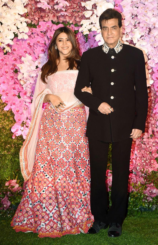 Ekta Kapoor arrives with her father Jeetendra.