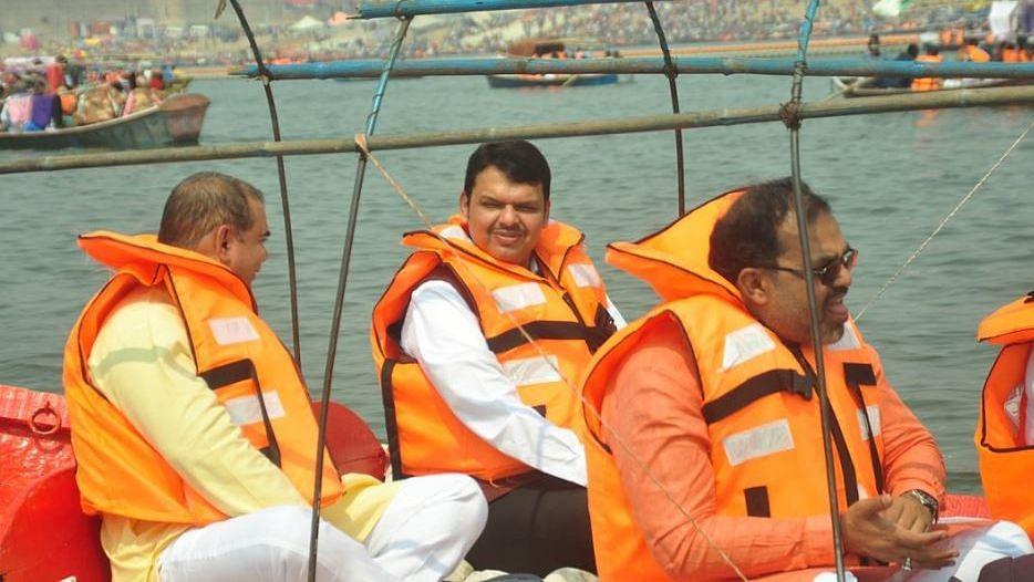 Maharashtra Chief Minister Devendra Fadnavis at the Kumbh Mela.