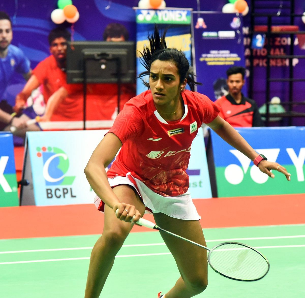 PV Sindhu in action during her first round defeat at the All England Championships 2019 against South Korea's Sung Ji Hyun.