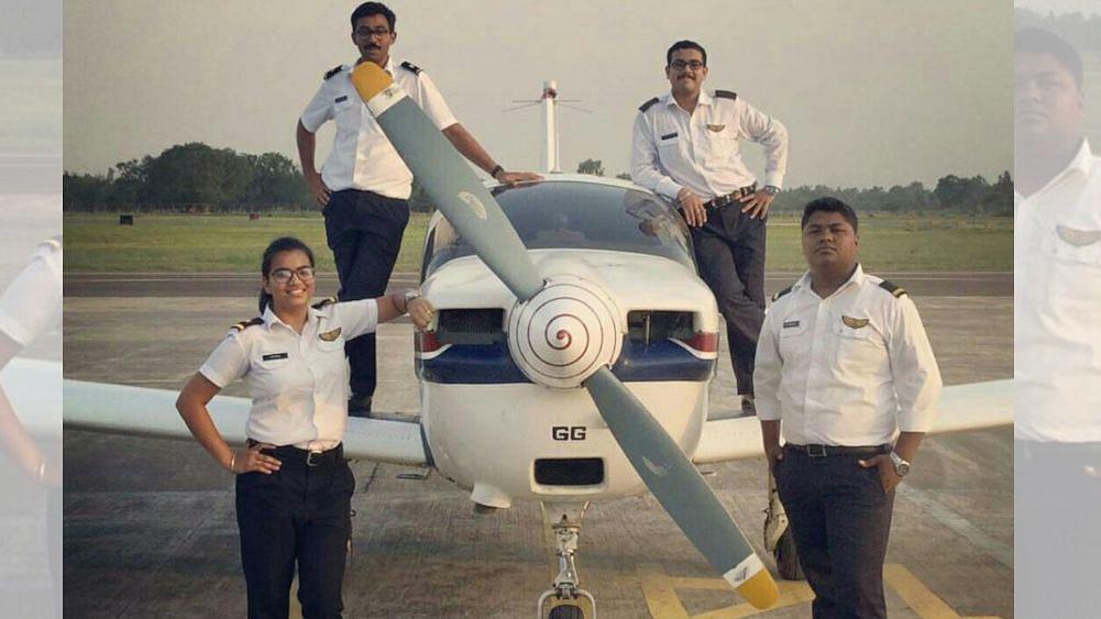 Trainee first officer Garima Sheoran (20) with her batchmates at the Indira Gandhi Rashtriya Uran Akademi (IGRUA), India's national flying school, at Fursatganj airfield in central Uttar Pradesh.