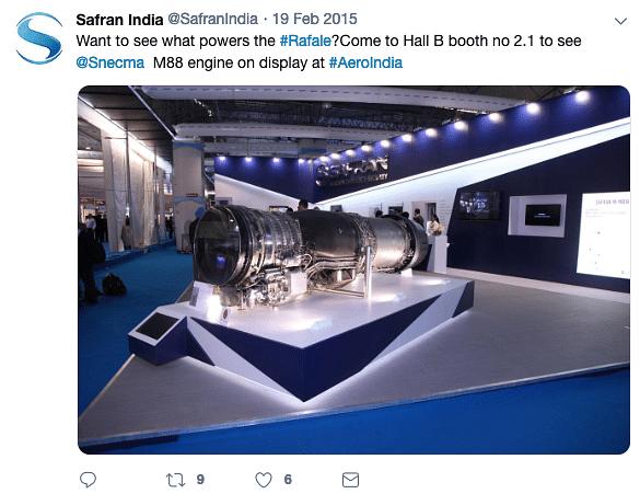 Safran India displayed Rafale M88 engine in Aero India show in 2015.
