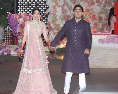 Akash Ambani and Shloka Mehta. (Photo: IANS)