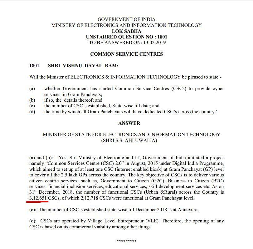 MoS SS Ahluwalia's reply in Lok Sabha in February 2018