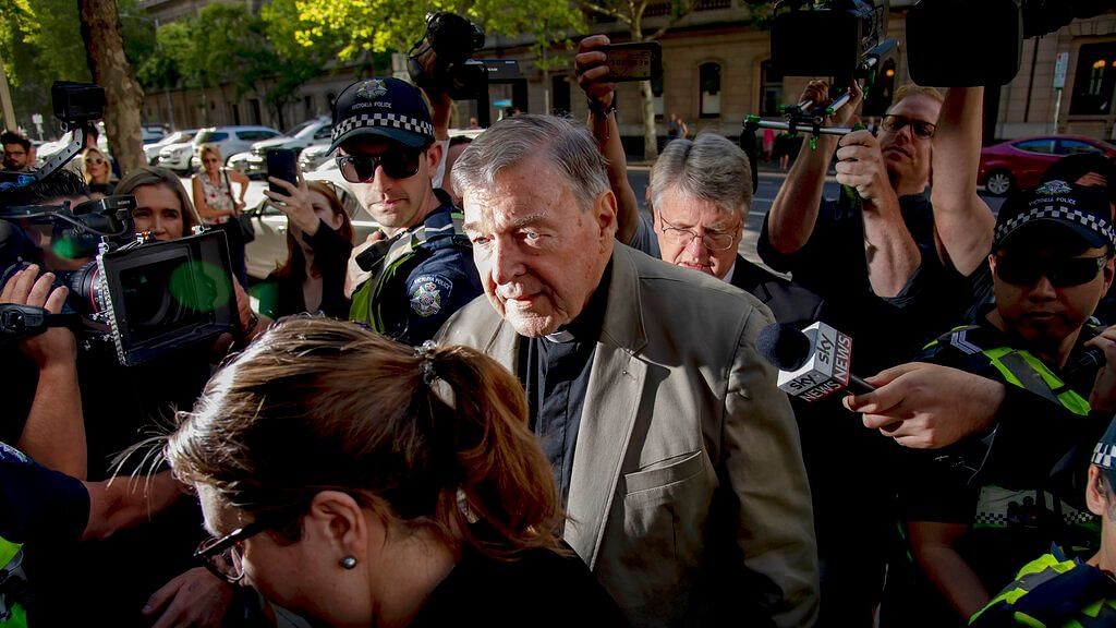 In this 27 February 2019 file photo, Cardinal George Pell arrives at the County Court in Melbourne, Australia.