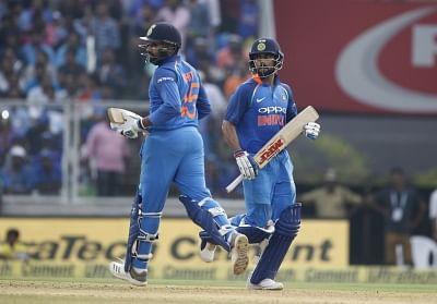 Thiruvananthapuram: Indian skipper Virat Kohli and Rohit Sharma during the fifth and final ODI match between India and West Indies in Thiruvananthapuram, on Nov. 1, 2018. (Photo: Surjeet Yadav/IANS)