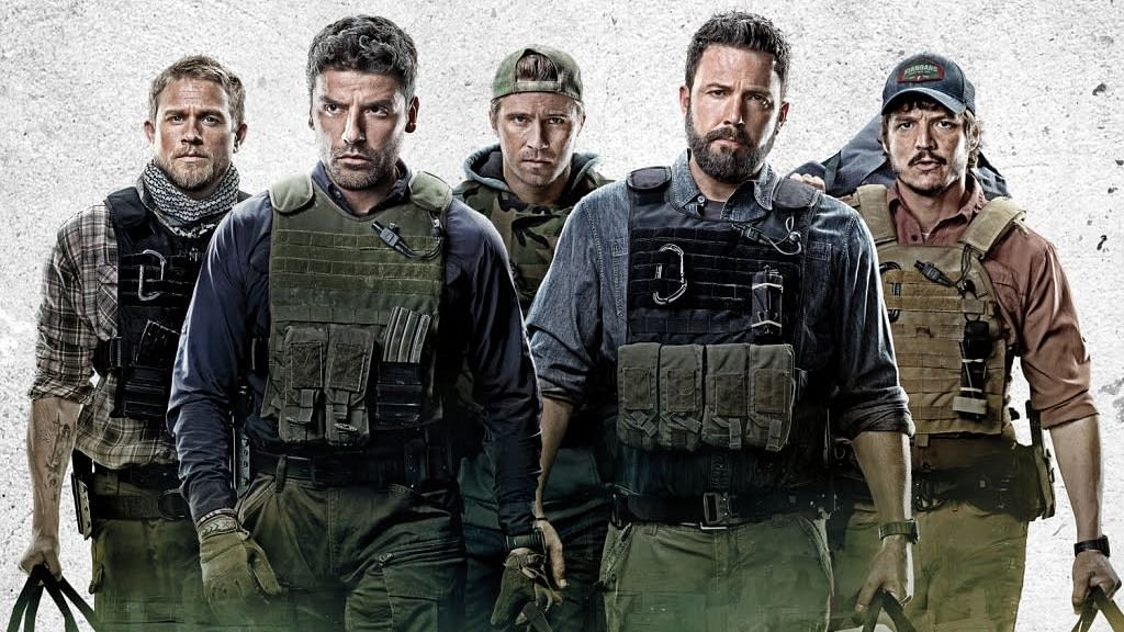 Ben Affleck, Oscar Isaac, Charlie Hunnam, Garrett Hedlund and Pedro Pascal in <i>Triple Frontier.</i>